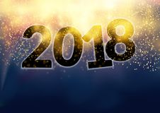 New Happy 2018 year beautiful fireworks shimmering glittering la Royalty Free Stock Image