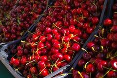 New harvest of fresh ripe red sweet cherry, street market in Ita Stock Image