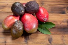 New harvest of healthy fruits and vegetables, tropical organic r stock photos