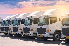 New haulage truck fleet at yard. stock images