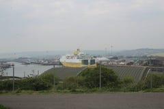 New Haven aan Dieppe-veerboot in de haven van New Haven royalty-vrije stock foto's