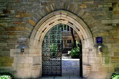New Haven, CT: Master`s House Gate at Yale University Stock Photography