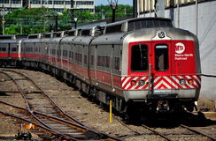 New Haven, CT: Metro-North Rail Approaching Station. A Metro-North MTA commuter train moving through the train yards approaches New Haven, Connecticut's Union royalty free stock image