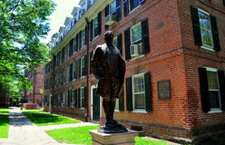 New Haven, CT: Nathan Hale Statue at Yale University. Nathan Hale (a Yale Alumnus) Statue and 1750 Connecticut Hall at Yale University in New Haven, Connecticut Stock Images