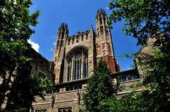 New Haven, CT: Sterling Law School at Yale University. New Haven, Conncticut - June 19, 2013: The beautiful English gothic style Sterling Law School at Yale royalty free stock photography