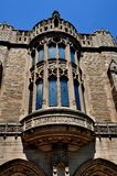 New Haven, CT: Sterling Law School at Yale University. New Haven, Connecticut - June 19, 2013: English gothic style rounded window at Yale University`s Sterling stock photos
