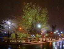 New Haven na noite imagens de stock