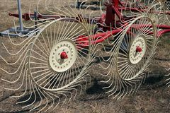 New hay raker farm equipment. Stock Images