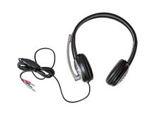 New headset with microphone on the white background stock images