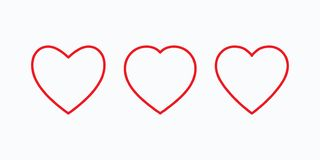 New heart icons, concept of love, linear icons thin red line stock illustration