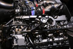 New 2018 High Performance Engine on Display at the North American International Auto Show Royalty Free Stock Image