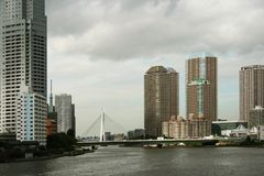 New High Rise apartment buildings next to Tokyo's Sumida River Stock Image
