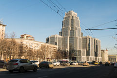 New high-rise building in downtown Moscow. On Krasnoproletarskaya MARCH 10 2016 royalty free stock photos