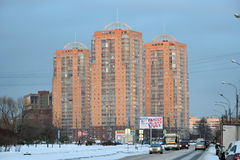 New high-rise building of red brick in the winter. In St. Petersburg Royalty Free Stock Photo
