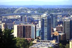New High rise construction Portland Oregon. Stock Photo