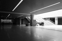 The new high-speed railway station hall black and white image Royalty Free Stock Photos