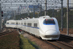 New high-speed train. Moving chinese new high-speed train stock photos