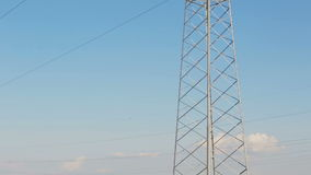 New high voltage power lines on poppy field in Crimea. stock video