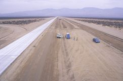 New highway construction in the Mojave near Lancaster, California Stock Photo