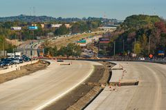 New highway lanes. OAKWOOD, OH - OCTOBER 21, 2017: New concrete lanes form the central feature of the ongoing construction project on Interstate 271 near royalty free stock image