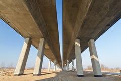 New highways in Poland. Under new highway bridge in Poland Stock Photos