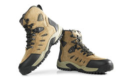 New hiking boots on white background Royalty Free Stock Photography