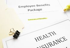New hire Benefits documents. Employee Benefits package summary of benefits and health insurance document royalty free stock images
