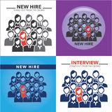 New Hire Button Portraying Different People with Men and Women in Suits and One Person Standing Out as the Person who got Hired. New Hire Button Portraying Royalty Free Stock Photos