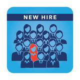 New Hire Button Portraying Different People with Men and Women in Suits and One Person Standing Out as the Person who got Hired. New Hire Button Portraying Royalty Free Stock Photo