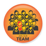 New Hire Button Portraying Different People with Men and Women in Suits and One Person Standing Out as the Person who got Hired. New Hire Button Portraying Royalty Free Stock Photography