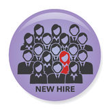 New Hire Button Portraying Different People with Men and Women in Suits and One Person Standing Out as the Person who got Hired. New Hire Button Portraying Royalty Free Stock Image
