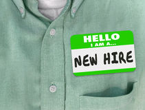 New Hire Nametag Sticker Green Shirt Rookie Employee Fresh Talen Stock Photography