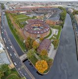 New Holland, district of St. Petersburg. New Holland island in St. Petersburg, aerial view, autumn landscape, Russia-3.10.2018 stock image