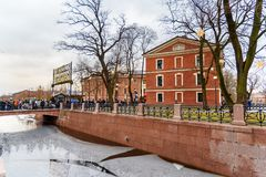 New Holland park in the winter. Saint Petersburg. Russia. Saint Petersburg, Russia - January 2, 2018: New Holland park in the winter royalty free stock photos
