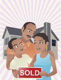 New Home. A happy American family outside their new house Royalty Free Stock Photo