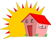 New Home. Large sun shines on a new house which smiles in reply Stock Image