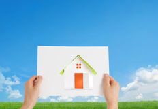 New home. With idyllic background Royalty Free Stock Photos