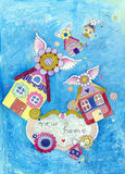 New Home Announcement. Lovely illustration with houses for greeting cards announcing moving. Created with acrylics, colored pencils and ink Stock Photos