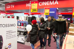 New home appliance store. Customers shopping inside a new home appliance store, commercial center in Bucharest city, Romania Stock Photography