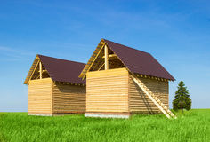 A new home being built with wood Royalty Free Stock Photography
