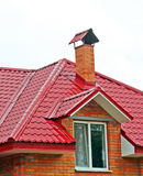 New home being bulit. New home with red roof being bulit Stock Photo