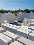 New home build. Concrete masonry blocks being used to build the walls of a new house stock photography