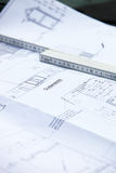 New home building plan. Closeup detail of a new home building plan or blueprint showing layout and dimensions with a ruler Stock Photos