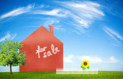 New home concept. Over idyllic landscape Stock Images