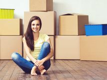 Young loving couple moving to a new house. Home and family concept. stock photo