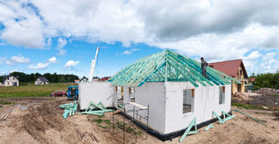 New home construction. Details of a new home under construction Royalty Free Stock Photography