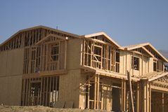 New home construction. Construction of a new house and home stock images