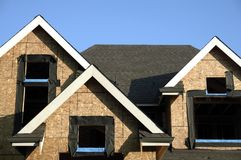 New Home Construction. Roof peaks of a new home being built in Chilliwack, BC Stock Photography