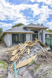New home construction debris. A new home under construction with various debris left outside at Boynton Beach, Florida Stock Photo