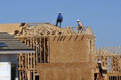 New Home Construction Framing In The Southwest. stock photo